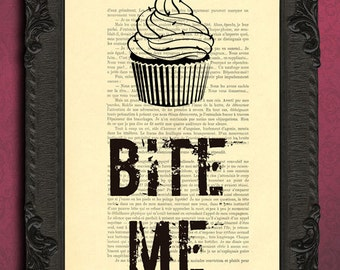 Bite me cupcake art print, cupcake decor, cupcake wall decor on antique book page, barb wire art prints on dictionary paper