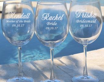 4 Personalized Wine Glasses, Bridesmaid Wine Glasses, Gift for Bridesmaids, Etched Wine Glasses, Custom Wine Glasses, Wedding Wine Glasses