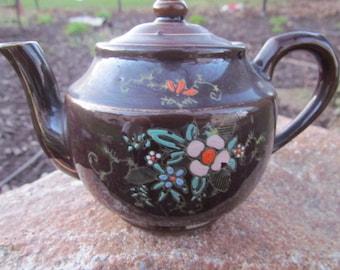 Teapot Brown Redware 1950's Vintage