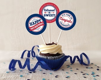 Retirement Cupcake Toppers, PRINTABLE, Navy Blue and Red, 2 or 2.25 Inch, Retirement Favor Tags