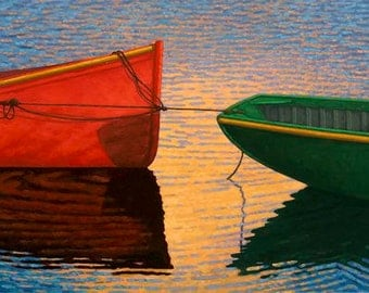 "Two Boats  12"" x 24"" Stretched canvas print by Paul Hannon FREE SHIPPING Canada & US"
