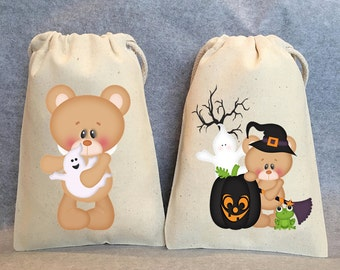 "Halloween party, Halloween party favor bags, teddy bear favor, 4""x6"", set of 6"