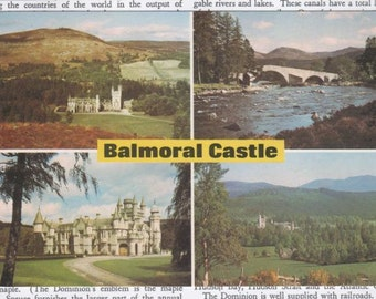 Vintage Postcard Scotland Balmoral Castle and Lochnagar Aberdeenshire Blank Unused FREE SHIPPING USA