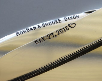 Cake cutting set with heart handle, wedding day- Established date, special 2017 cake knives