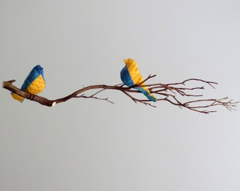 Bird Mobile - Blue / Yellow Birds OR Cardinals on Natural Manzanita Tree branch - Made To Order