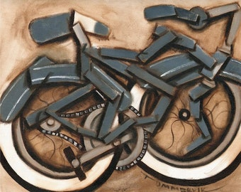 Tommervik Abstract Blue Cruiser Bicycle Gifts Beach Cruiser Bicycling Bicycle Art Archival Print