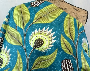 African Wax Print Fabric--Ankara Print Fabric--Genuine Vlisco Java Print--Teal, Lime, Brown Abstract Floral--African Fabric by the HALF YARD