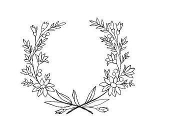 flower wreath redwork embroidery design