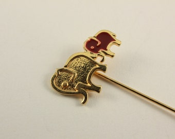 Cute Vintage Elephant Mom and Baby Stick Hat Pin (retro animal figural brooch red small little cute)