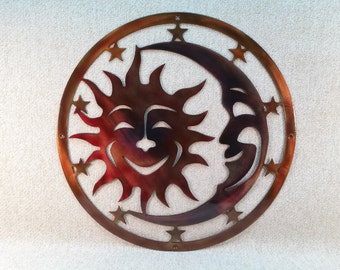 Sun, Moon, & Stars Celestial Indoor or Outdoor Plasma Cut Metal Wall Art