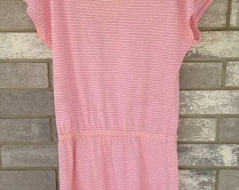vintage pastel pink striped neiman marcus summer dress