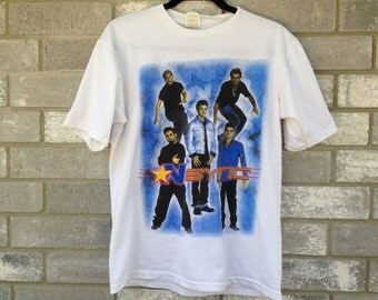 rare vintage nsync justin timberlake double sided tour shirt