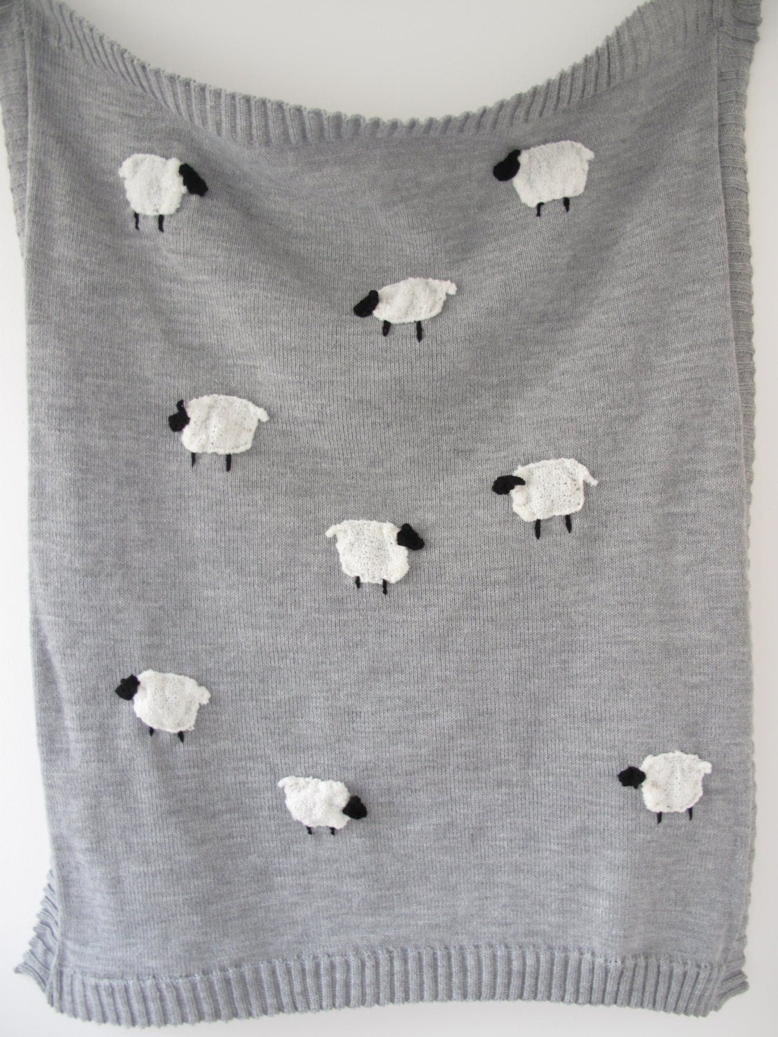 Knitting Pattern For Sheep Blanket : knitted grey sheep baby blanket with knitted and crochet sheep