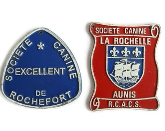 Vintage French dog plaque prize, Societe canine de Rochefort and Societe canine La Rochelle