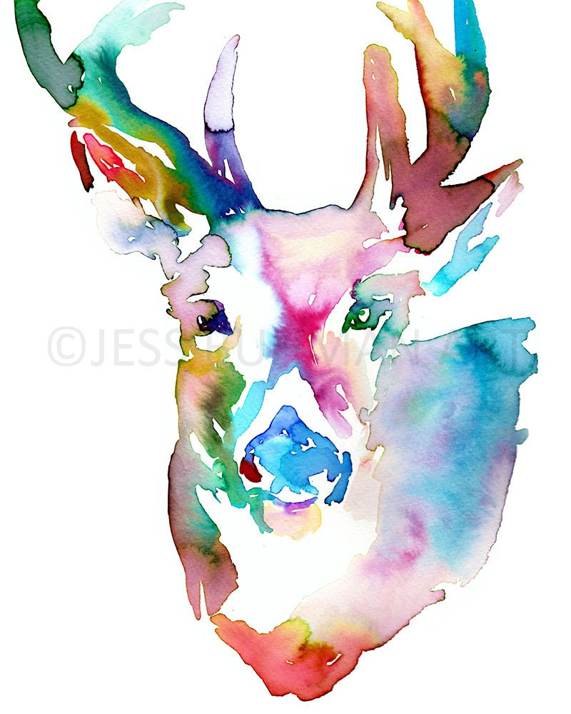 Deer watercolor painting print 18 x 24 deer by jessbuhmanart for Watercolor drawing ideas