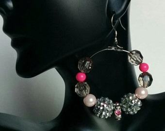 Hoop Earrings Pink and Silver Bling Dangle Earrings Basketball Wives Love and Hip Hop Dangling .925 sterling silver Hoops