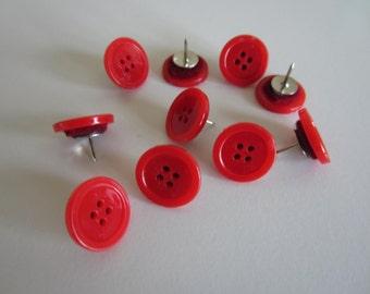 Red Button Thumbtacks - Red Thumbpins - Button Pushpins - Red Button Thumbpins - Cute Thumpins - Thumbtacks - Push Pins