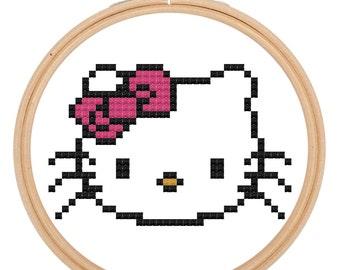 Hello Kitty Style Cross Stitch Pattern Download Needlework Embroidery Beginner