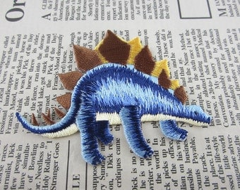 Blue Stegosaurus Embroidered Applique Iron On Patch