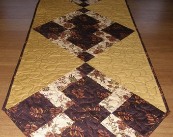 Fall Autumn Quilted Table Runner Chocolate Rusty Orange Cheddar Quilt Earth Tone Quilted Table Topper