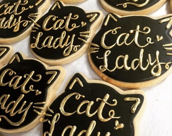 Black and Gold Cat Lady Cookies