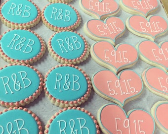 Aqua and Coral Wedding favor Cookies