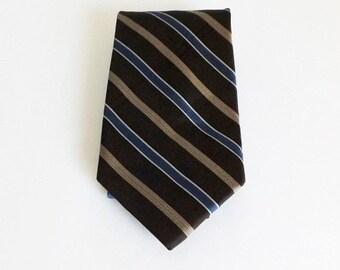 Innocenti Tan Beige Blue Striped Silk Necktie Great Gift Idea