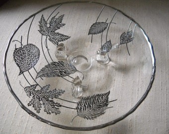 New Martinsville Viking Princess # 0000 Footed Plate with Silver City Forest Sterling Silver Overlay