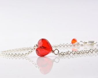 Red Heart  Bracelet Sterling Silver Idea For Her Girlfriend Valentine's Day Mothers Day Jewelry