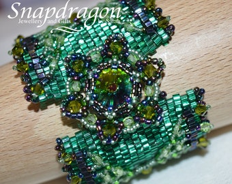 Dragon scale beaded cuff in emerald green with beaded rivoli and magnetic clasps