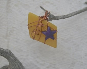 Bright Yellow Tumbled Glass Copper Wire Wrapped Pendant Bead Accent