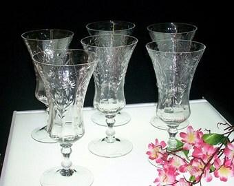 Set Of 6 Cambrridge Adonis Footed Iced Tea Tumblers