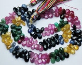 14 Inch Strands,Super-FINEST- Natural Multi Precious Faceted Pear Emerald, Ruby, Blue sapphire,Yellow Sapphire,Pink Sapphire 5-6mm