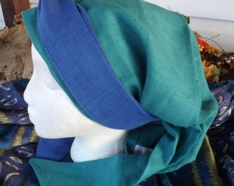387 Shores of the Salt Sea 100% Linen Seafoam Green Long Headcover Scarf with Matching Two Toned Ties