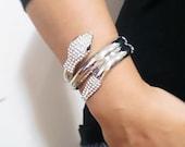 Silver cuff bracelet wide cuff bracelet titanium braided cuff bracelet snake cuff bracelet, bdsm bracelet, nail bracelet, bangle bracelet