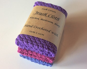 Cotton Crochet Wash Cloths, Re-usable, Environmentally Friendly. 100% Cotton. Set of 3, Shades of purple.