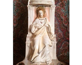 Large Antique Statue Altar of Jesus Christ -1934- Made in Italy Hand Painted Chalk Ware Plaster -FREE DOMESTIC SHIPPING