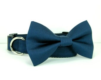 Wedding dog collar-Navy Dog Collars with bow tie set  (Mini,X-Small,Small,Medium ,Large or X-Large Size)- Adjustable
