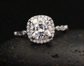 Cushion 8mm Brilliant Moissanite and Diamond Engagement Ring in 14k Rose Gold with Diamond Halo and Milgrain Band