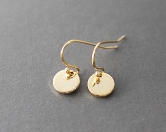 Gold Dot Earrings - little gold disc earrings - minimal