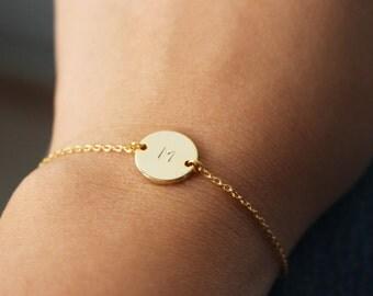 Initial Bracelet // Hand Stamped Initial Bracelet // Gold Initial Disc Bracelet // Initial Bracelet //personalized bracelet