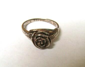 vintage sterling rose ring, size 5