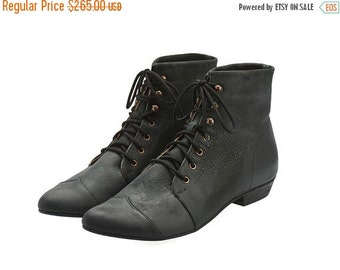 BOOTS SALE Black boots, High Polly-Jean, Black Boots, Leather Boots, handmade, flats, leather shoes, by Tamar Shalem on etsy