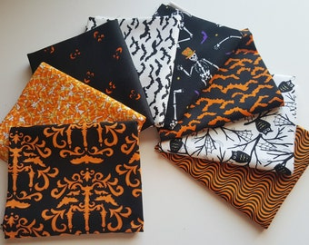 Moda Deb Strain Halloween Fat Quarter Bundle - 8 orange, black & white FQs (2 yards total)