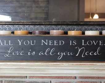 wooden sign,all you need is love, the beatles,love is all you need, mantle piece, quote sign,wood sign,quote,gift
