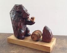 Soviet wooden figurine Hand Carved animals Wooden bear and hedgehog Wooden animals USSR era toy