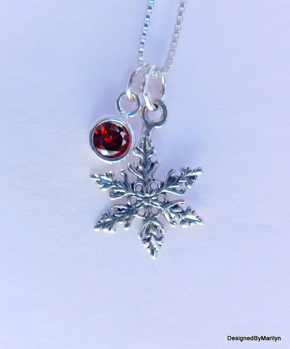Sterling silver snowflake necklace, nature necklace, winter jewelry, Christmas jewelry, birthstone necklace