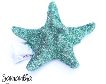 Dark Green Glitter Starfish Hair Clip