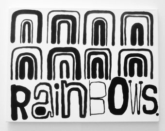 RAiNbOWS 18 X 24 inch Canvas Modern Painting Black and White Large Modern Fine Art Original Rainbow Painting Graffiti Art Canvas LYNDA BLACK