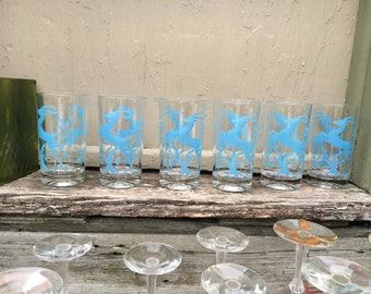 Art Deco blue leaping gazelles or antelope tumblers or water glasses high balls